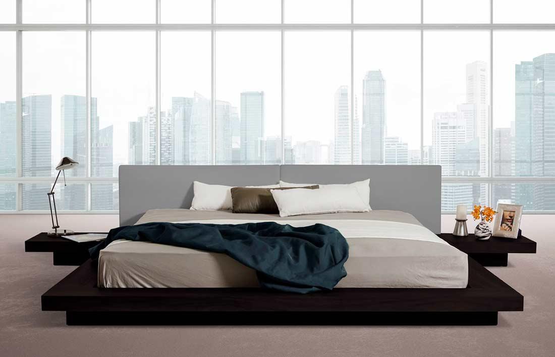Black Oak Veneer Bed Vg Modus Modern Bedroom Furniture