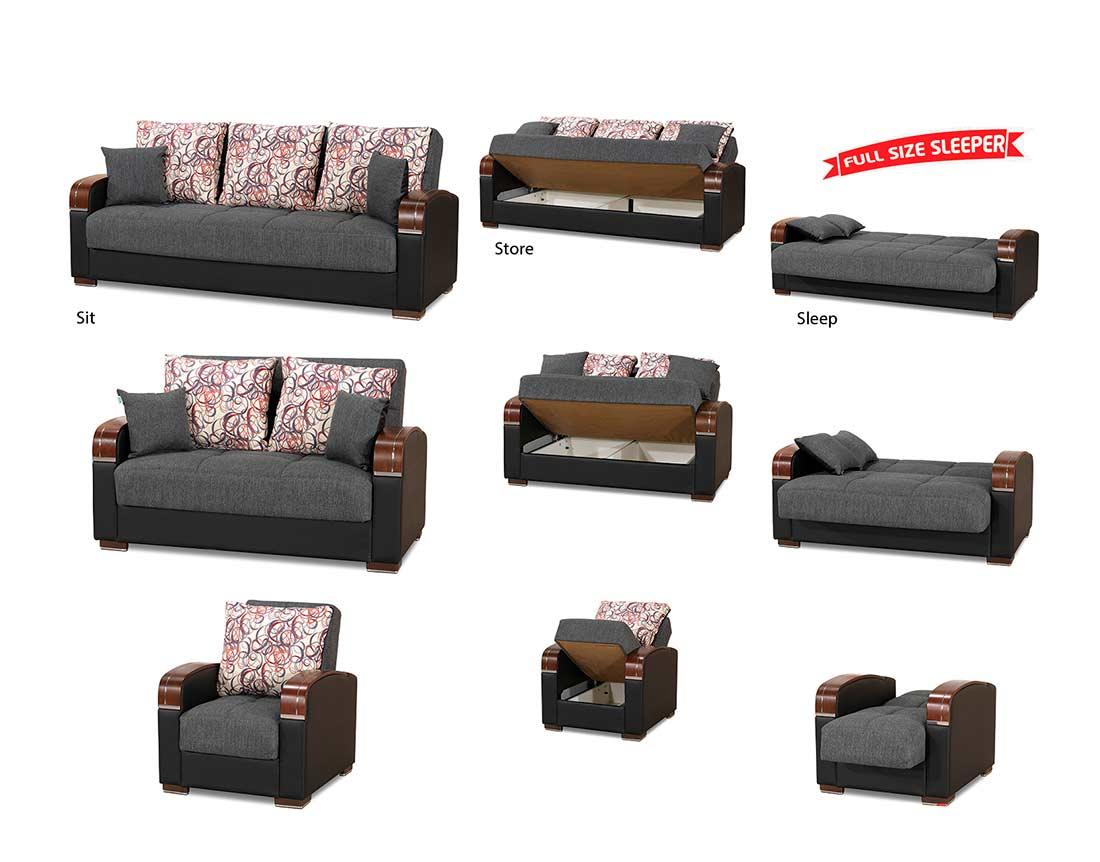 Enjoyable Prada Sofa Full Size Sleeper In Gray Sofa Beds Home Interior And Landscaping Sapresignezvosmurscom
