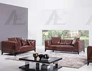 Brown leather sofa set AE065