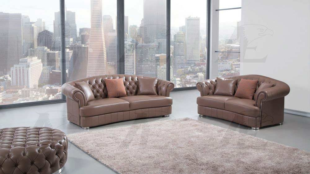 Dark Tan Italian Leather Sofa Set AEK 096