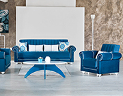 Marilyn Blue Fabric Sofa Sleeper by Demka