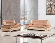 Camel and Ivory Bonded Leather Sofa set AE 209