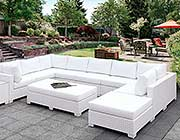 White Wicker Patio Sofa sectional FA 135