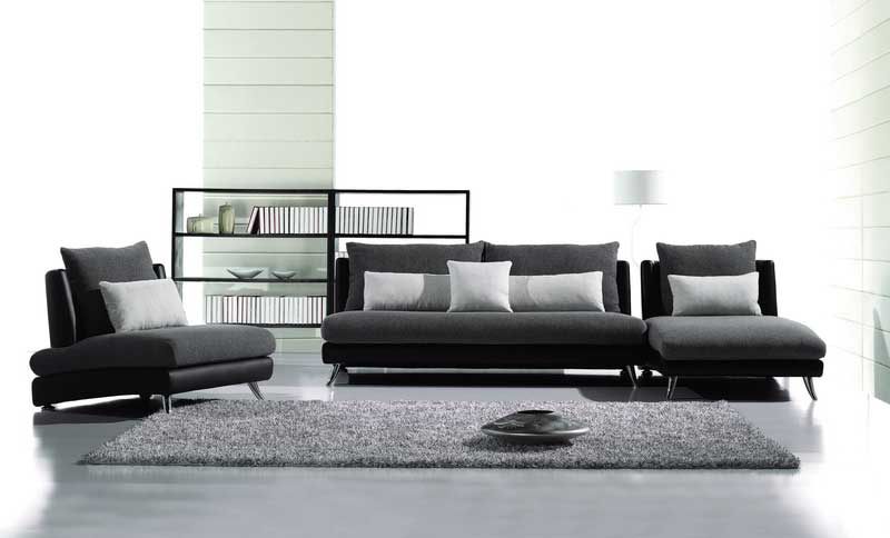 Contemporary FabricLeather Sofa Set AE Fabric Sofas