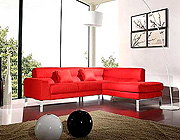 Modern Leather Sectional Sofa Red 43
