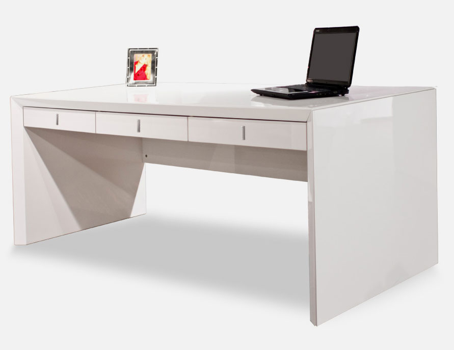 Sh03 white lacquer desk executive for White modern office furniture