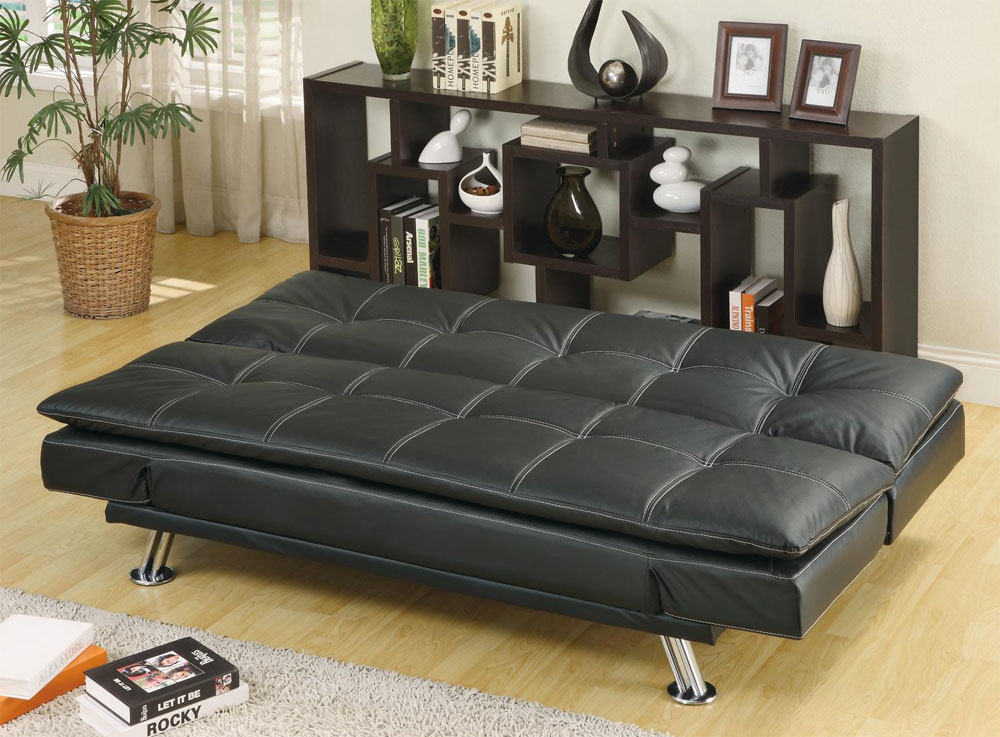 Black leatherette Sofa Bed Collection CO91B ...
