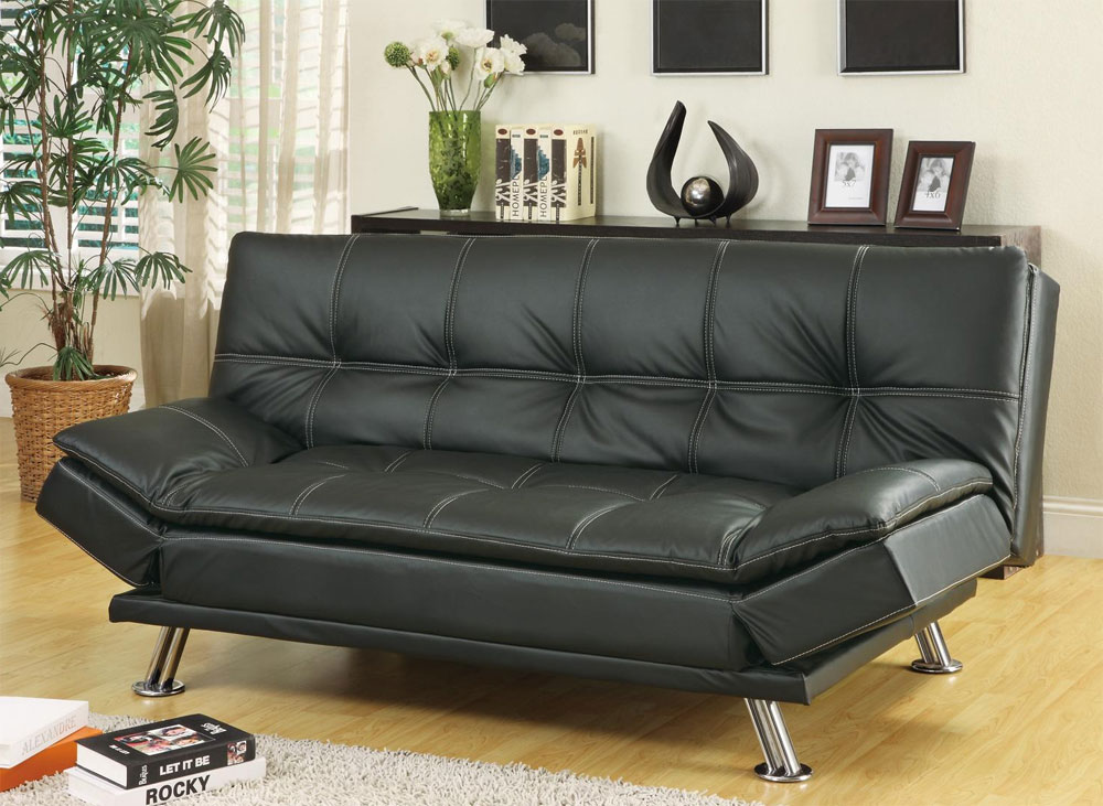 Black leatherette Sofa Bed Collection CO91B Black leatherette Sofa Bed  Collection CO91B ...