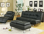 Black leatherette Sofa Bed Collection CO91B