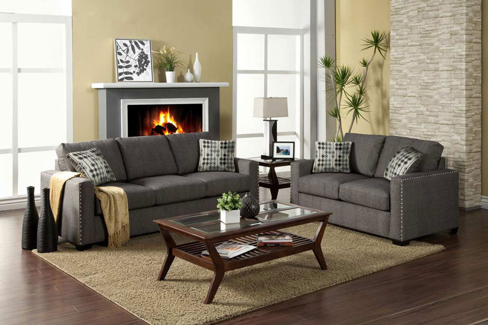 gt;gt; Fabric Sofas gt;gt; Contemporary Graphite Fabric Sofa Set FA20