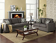 Contemporary Graphite Fabric Sofa Set FA20