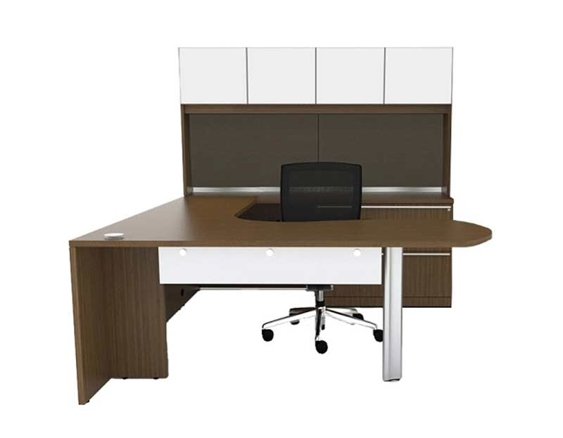 U Shaped fice Desk With Semi Lateral Pedestal & Hutch CH