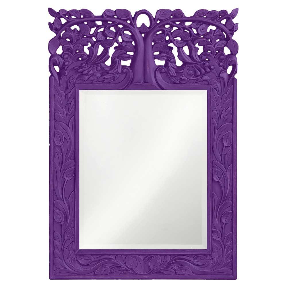 Leaf design purple mirror accent mirrors for Accent mirrors