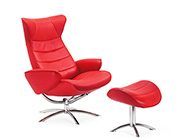 Fjords Tinde in Red Ergonomic Recliner by Hjellegjerde