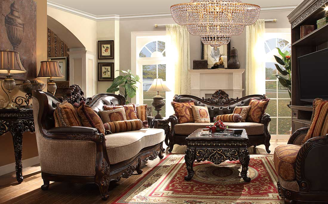 Traditional Chenille Fabric Sofa HD 1363 : traditional sectionals - Sectionals, Sofas & Couches