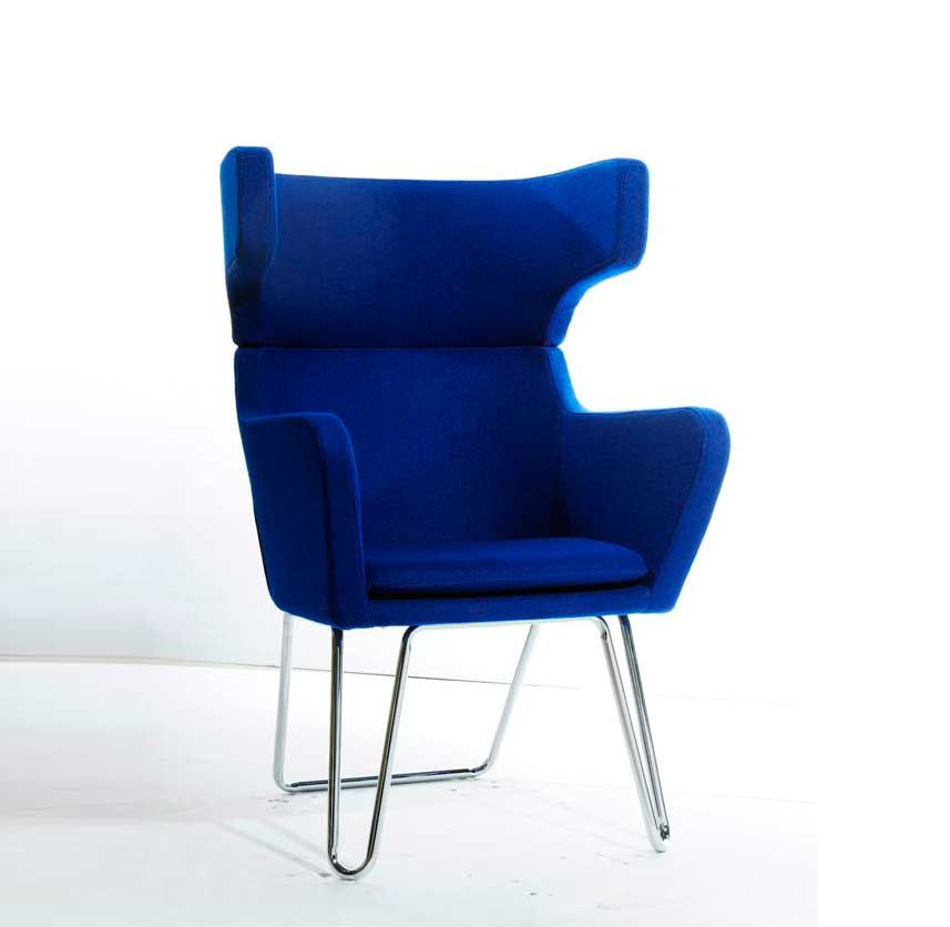 Modern Blue Fabric Lounge Chair VG185