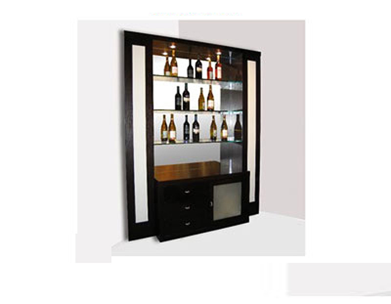 Elite Glass Corner Bar Wenge Bar