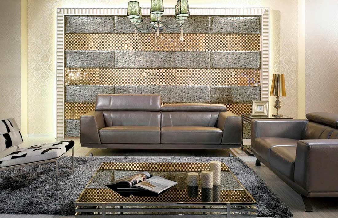 Modern Metallic Grey Leather Sofa Set Leather Sofas