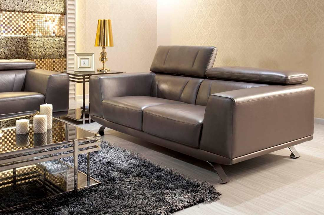 Modern Metallic Grey Leather Sofa Set