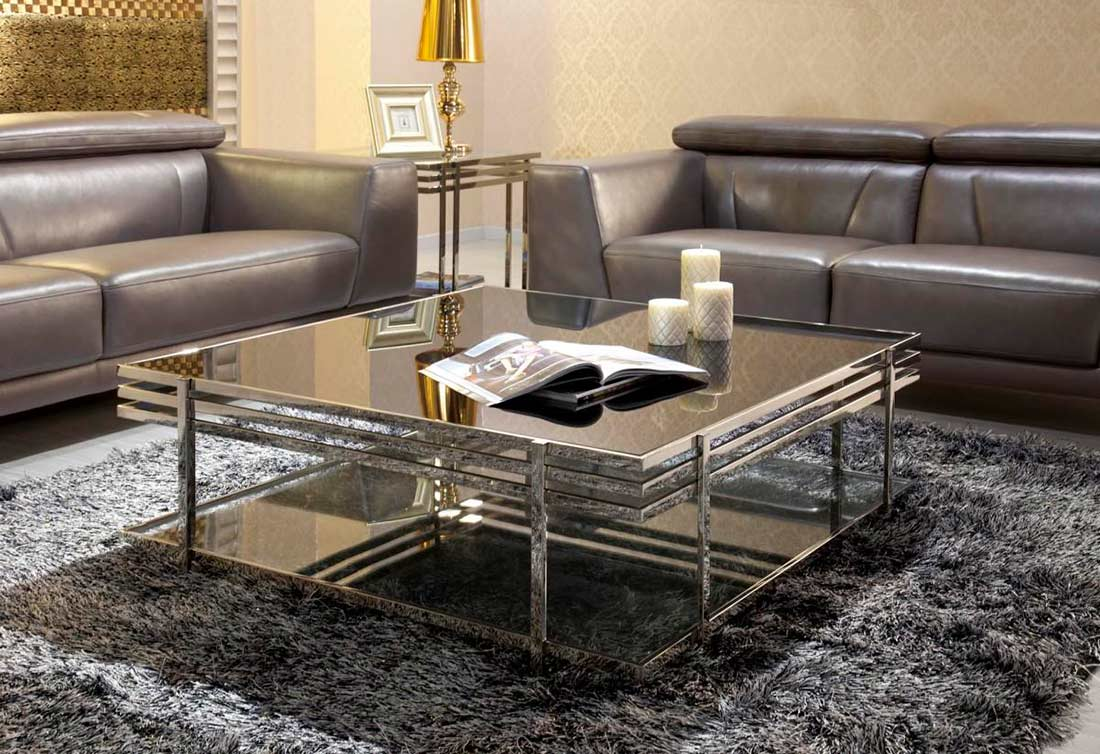 Modern Metallic Grey Leather Sofa Set Sofas