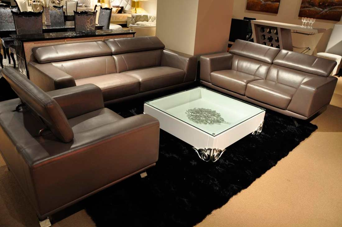 Modern metallic grey leather sofa set leather sofas for Contemporary sofa set