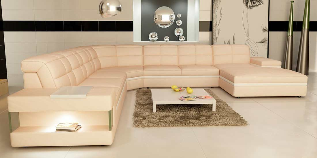 cream and white leather sectional sofa vg130 leather section