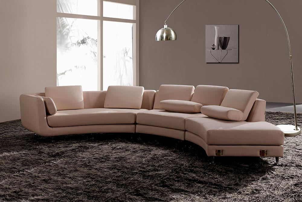 Modern round leather sectional sofa a94 leather sectionals for Modern sectional sofas