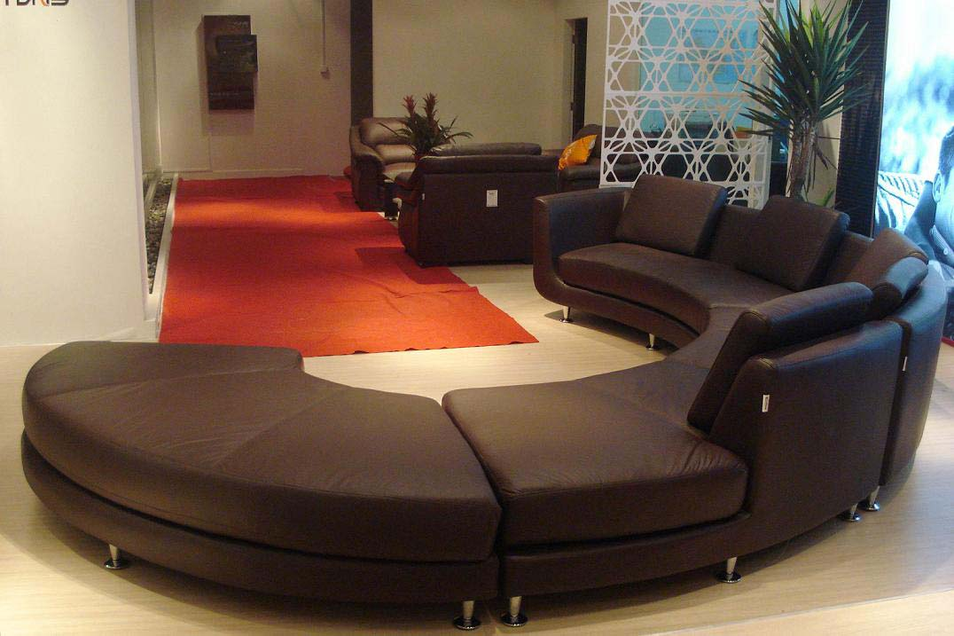 Modern round leather sectional sofa a94 leather sectionals Circular couches living room furniture
