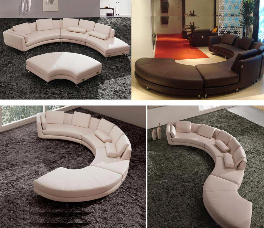 Superior Modern Round Leather Sectional Sofa A94