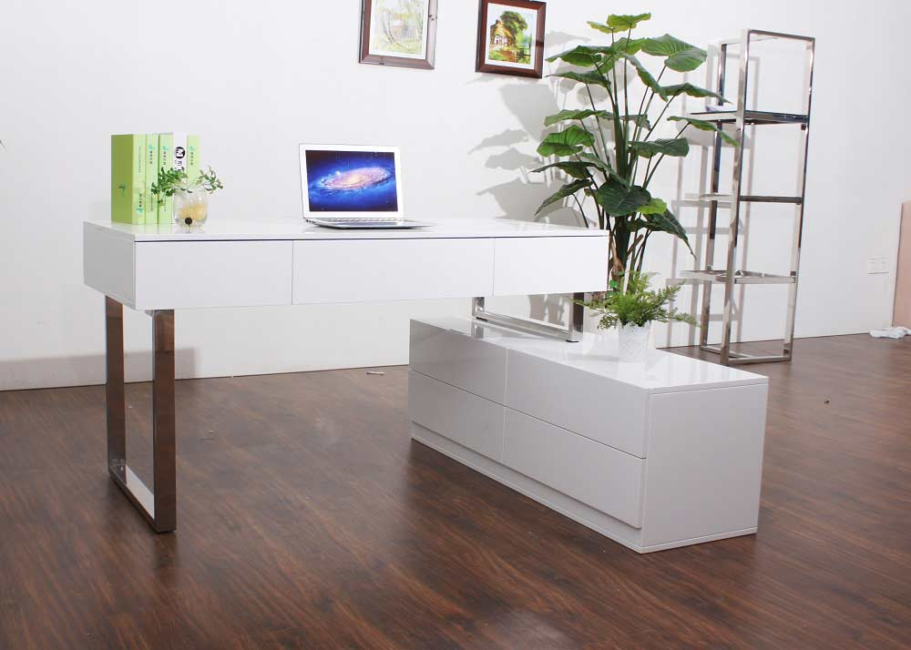 Modern white lacquer office desk sj12 desks for Modern white office