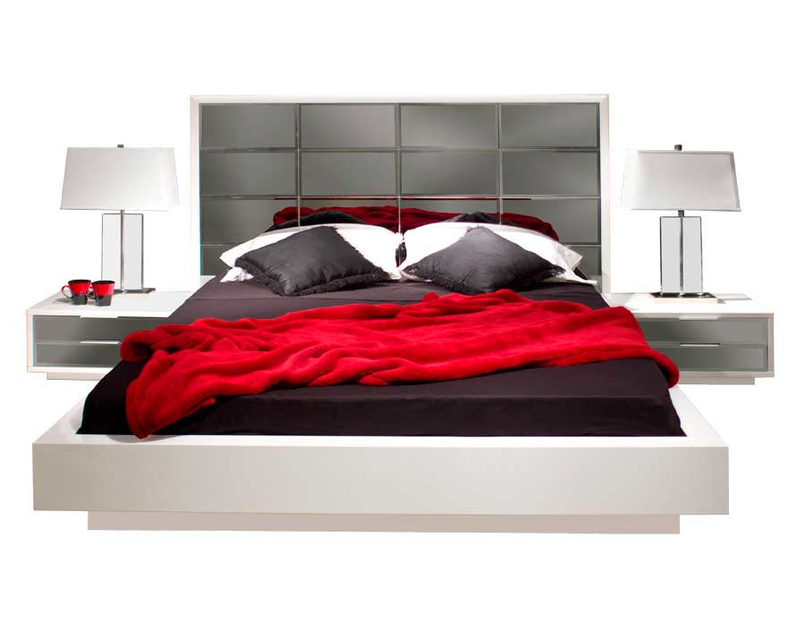 Modern Black Bedroom Mena With Mirrored Headboard