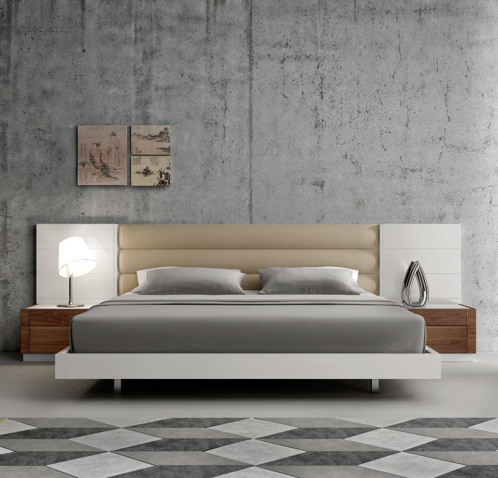 contemporary white lacquer bed sj871 contemporary bedroom. Black Bedroom Furniture Sets. Home Design Ideas