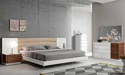 Contemporary White Lacquer Bed SJ871