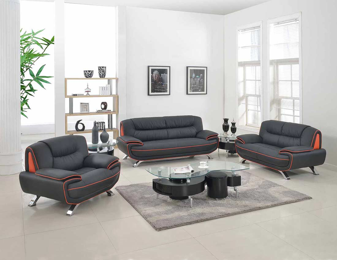 Modern Black Leather Sofa GU-405