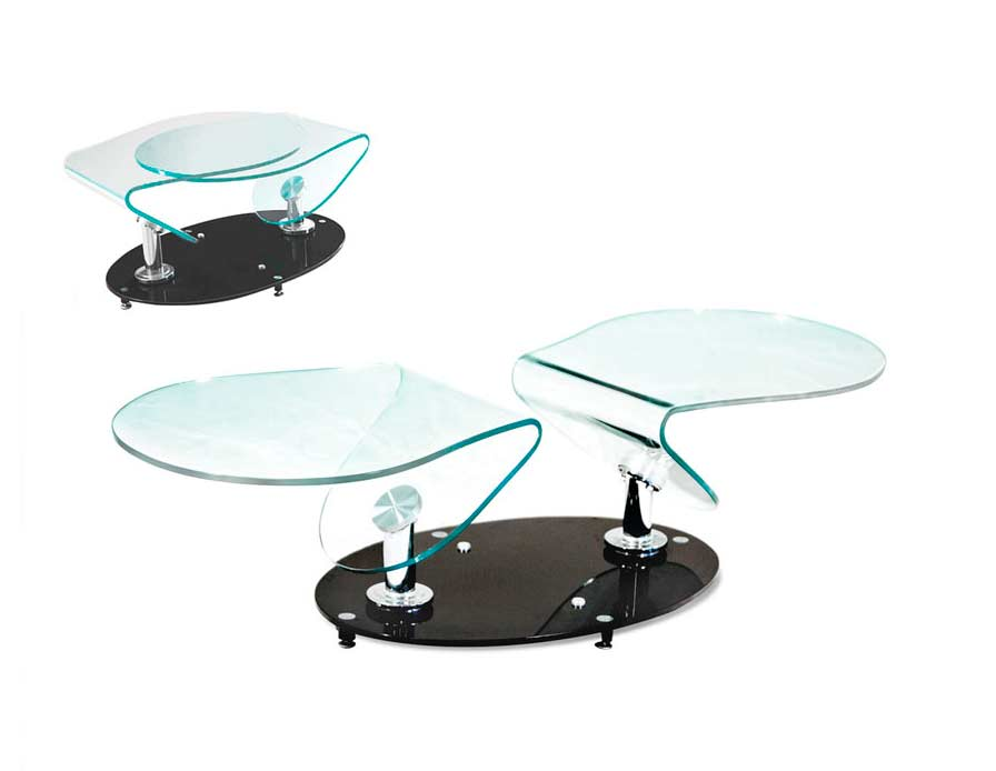 Swivel Clear Glass Coffee Table Bm011 Contemporary