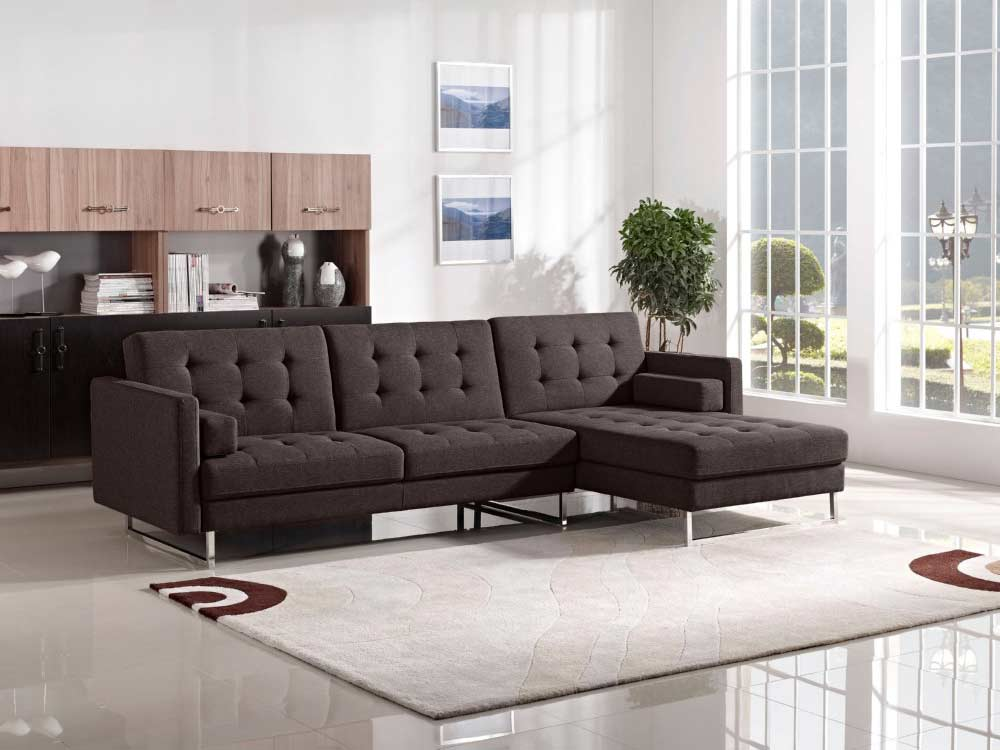 Chocolate Fabric Sofa Sleeper Ds Copus Fabric Sectional