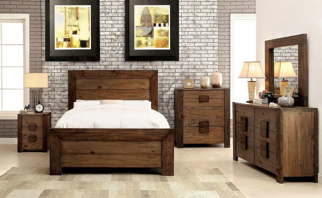 Platform bed in rustic finish fa27 platform beds for Rustic bedroom furniture sets