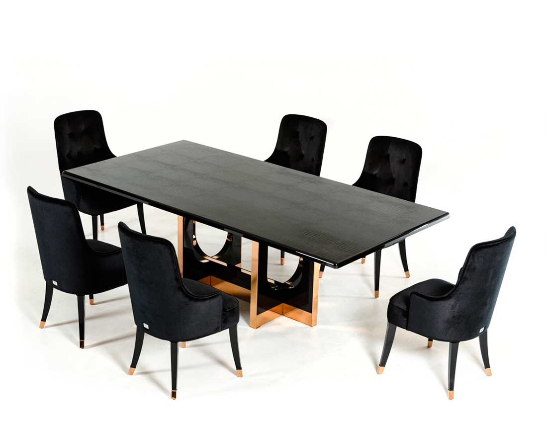 Large Black Crocodile and Rosegold Dining table VG595  : modern dining table large black crocodile rosegold vg595 b2 from www.avetexfurniture.com size 1100 x 873 jpeg 43kB