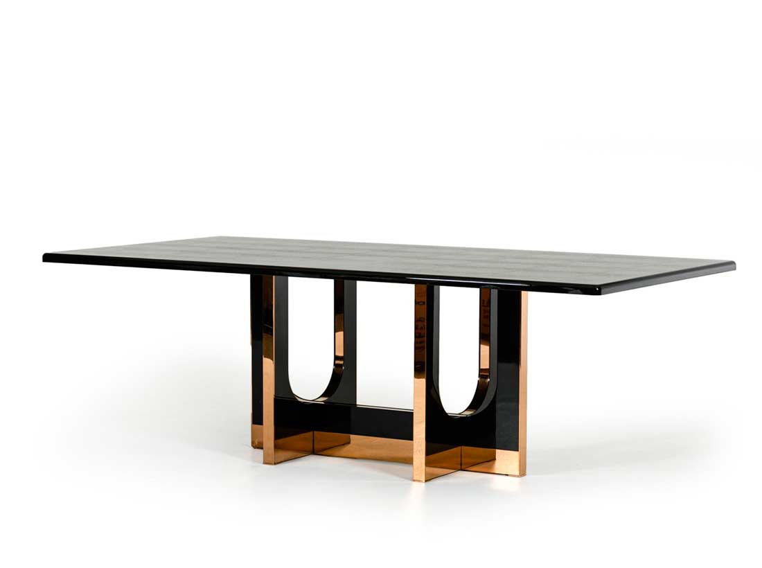 Large black crocodile and rosegold dining table vg595 for Large modern dining room table