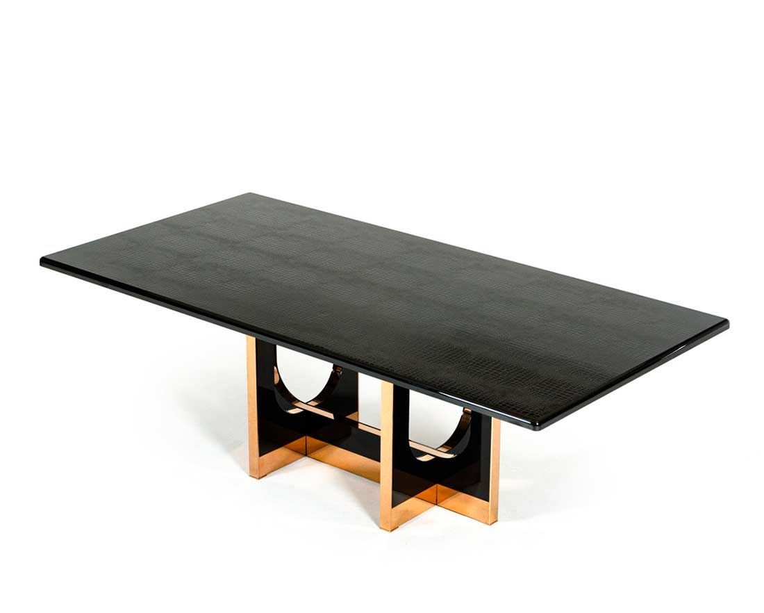 Large Black Crocodile and Rosegold Dining table VG595  : modern dining table large black crocodile rosegold vg595 b5 from www.avetexfurniture.com size 1100 x 882 jpeg 33kB