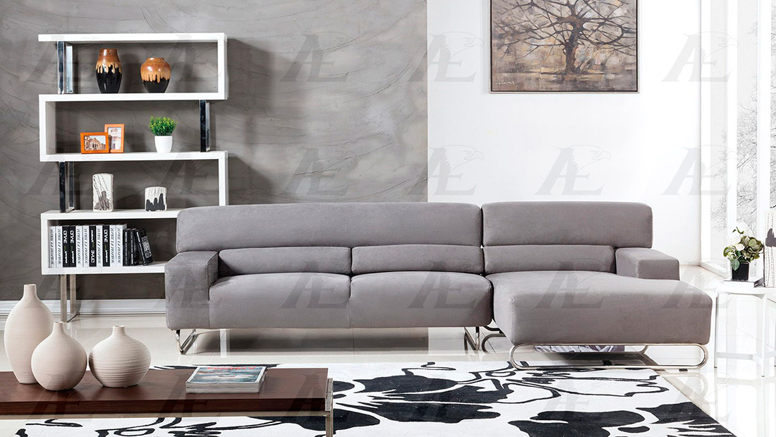Gray Microfiber Sectional Sofa AE15 | Fabric Sectional Sofas