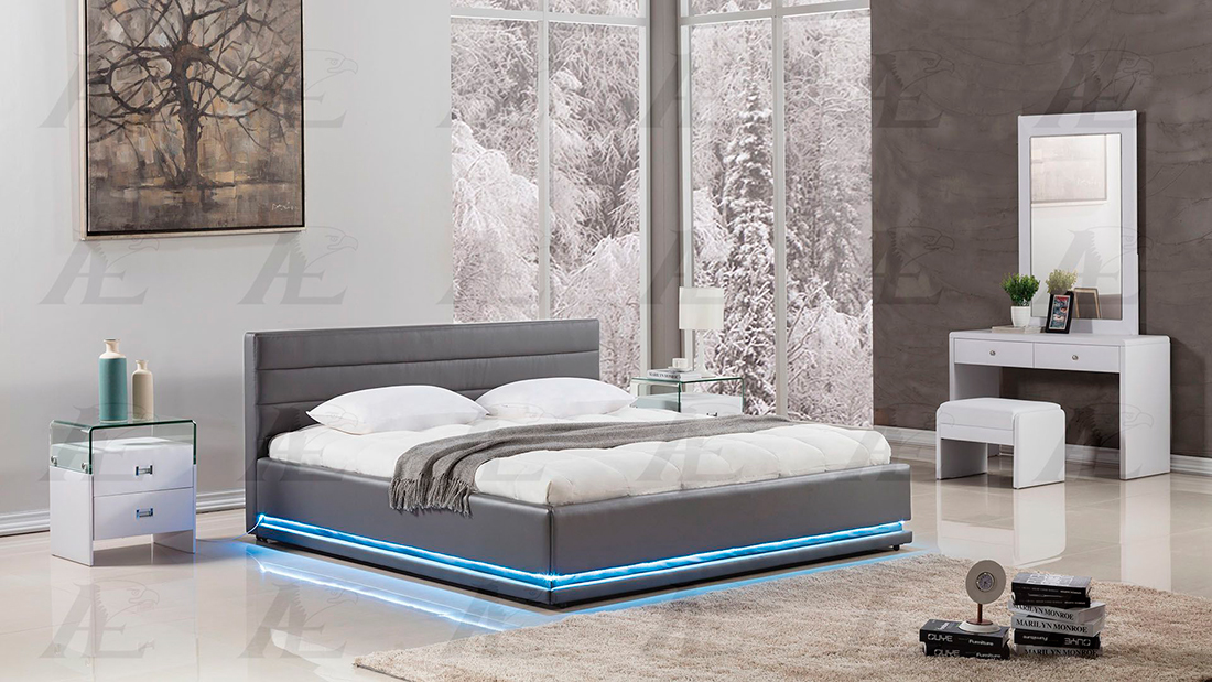 Gray Bed With Led Lights Ae022 Platform Beds