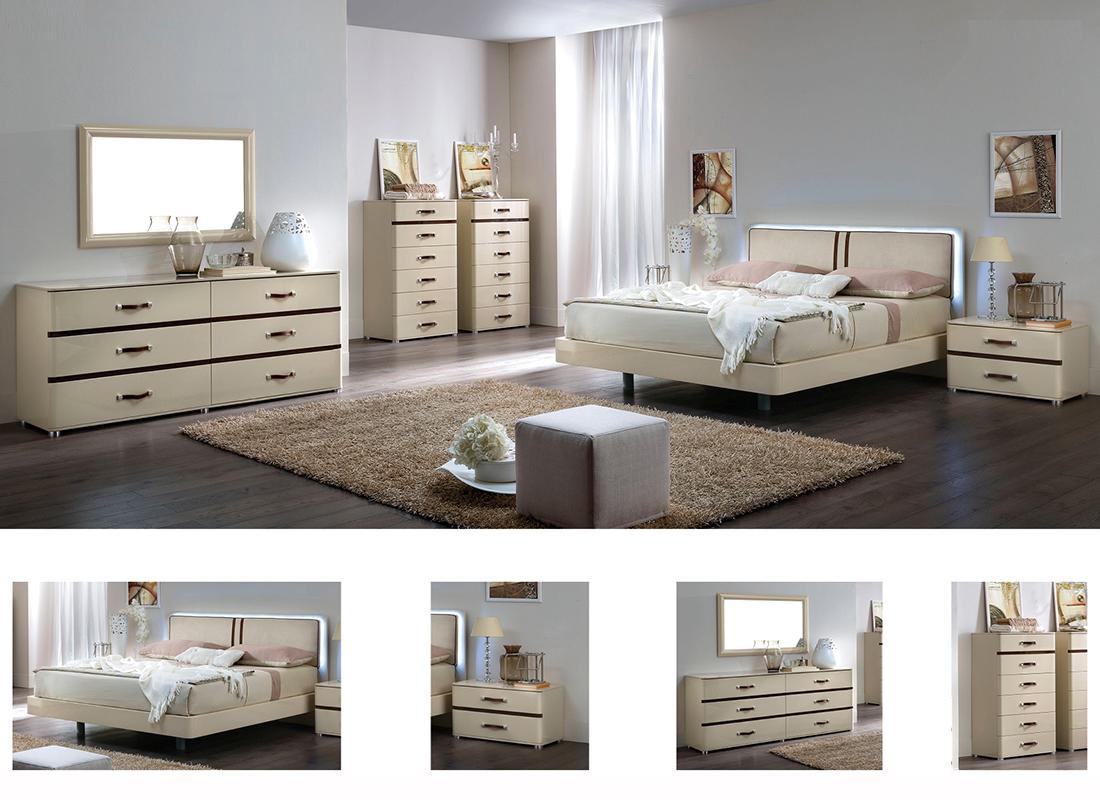 Beige Bed Ef Anetta Modern Bedroom Furniture
