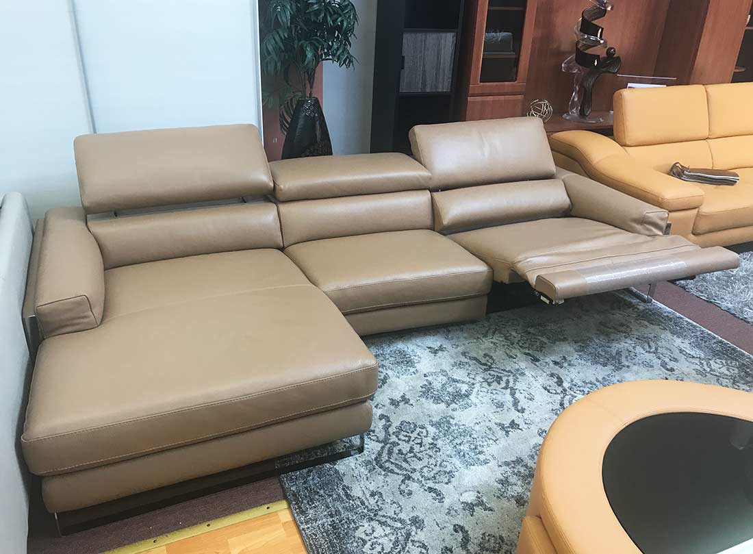 Beige Top Grain Leather Sectional Leather Sectionals