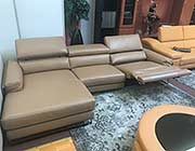 Beige Top Grain Leather Sectional
