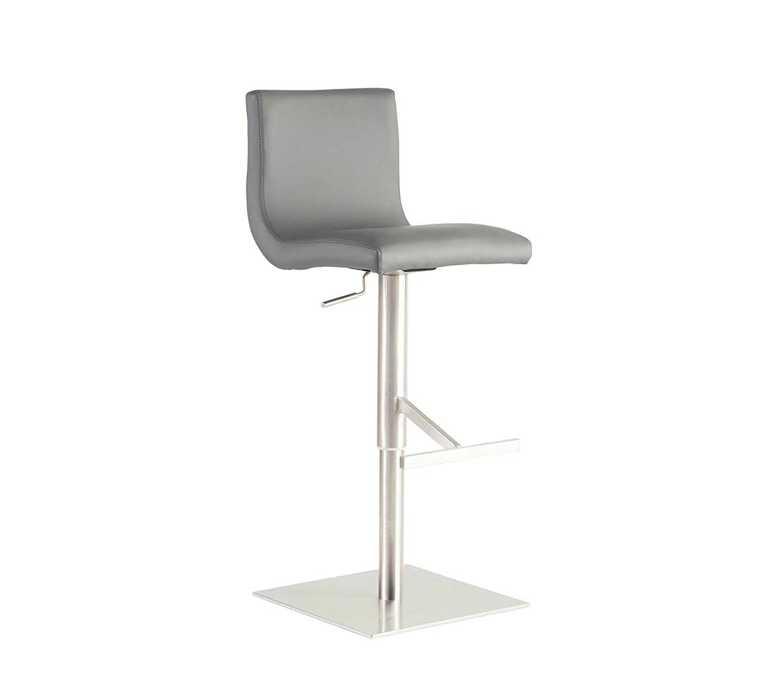 Fine Gray Leatherette Bar Counter Stool Estyle 959 Bar Stools Gamerscity Chair Design For Home Gamerscityorg