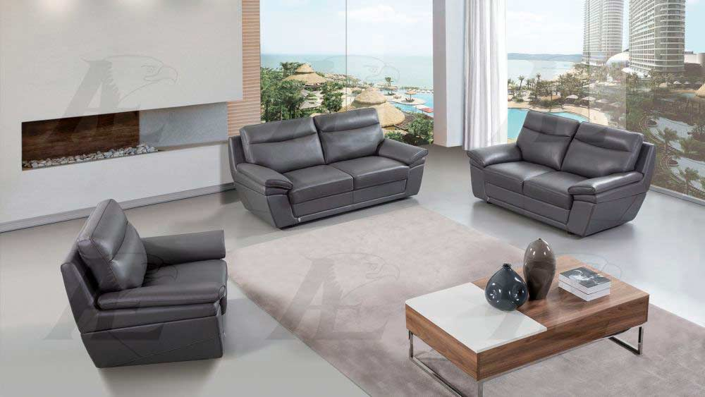 Amazing Gray Italian Leather Sofa Set Aek 092 Leather Sofas Inzonedesignstudio Interior Chair Design Inzonedesignstudiocom