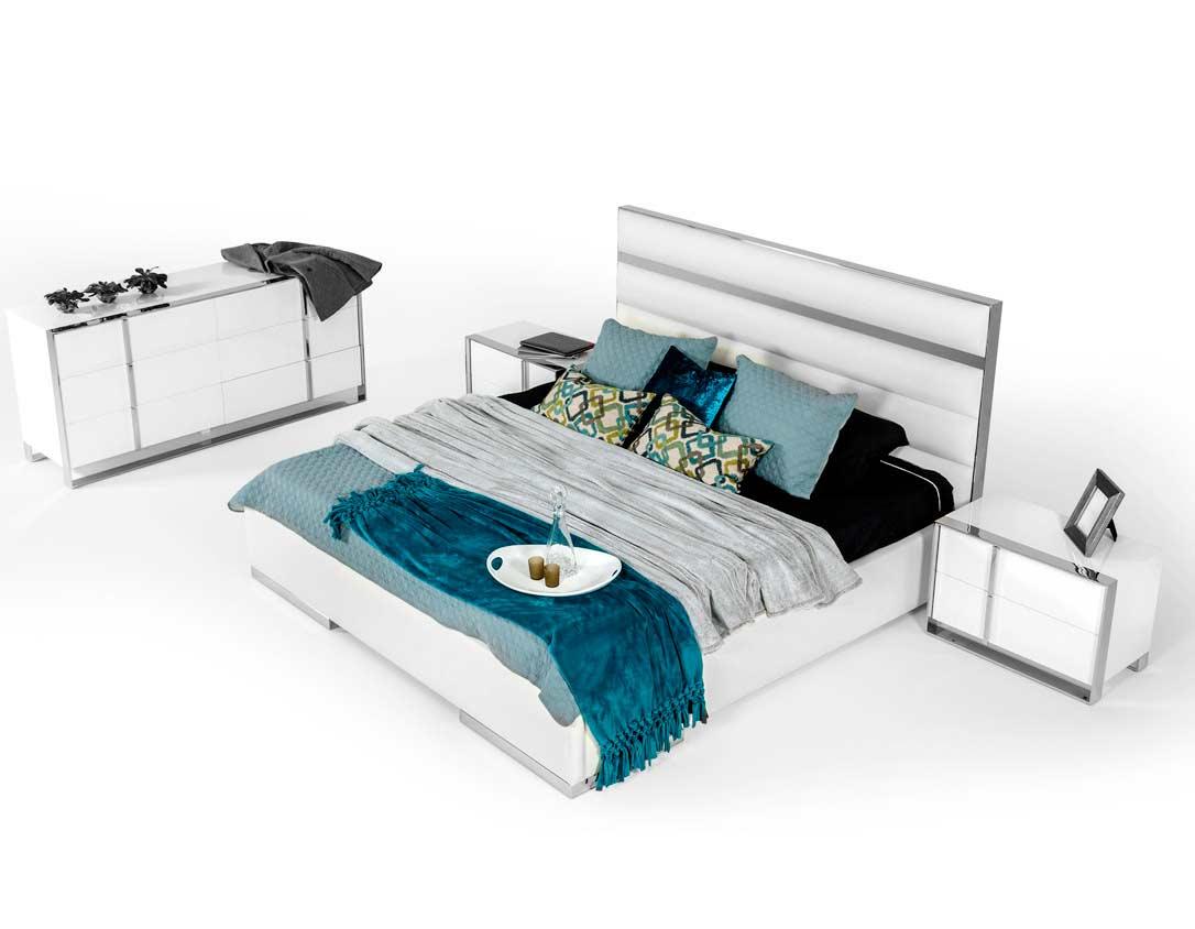 White Leatherette Headboard Bedroom Set VG Bianca