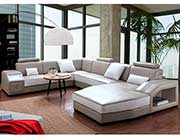 Light Grey and White Leather Sectional Sofa VG 0883