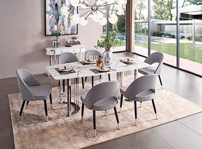 Silver Marble Dining Table EF 131